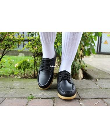 Colegiales en cuero. Zapatos Olander Raiders  Negro 0310 Suela en Caucho. Cosidos y Pegados