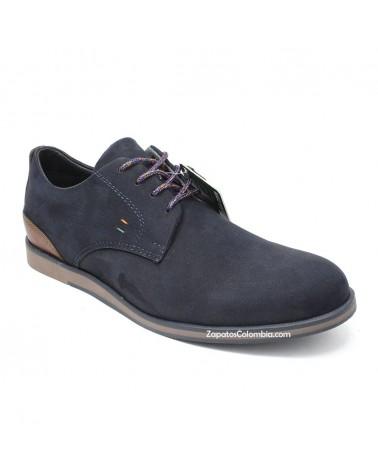 San Polos Zapato en cuero Nobuck, casual para hombre en ZapatosColombia.co, Azul 3106-1