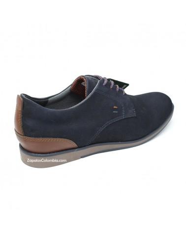 San Polos Zapato en cuero Nobuck, casual para hombre en ZapatosColombia.co, Azul 3106-2