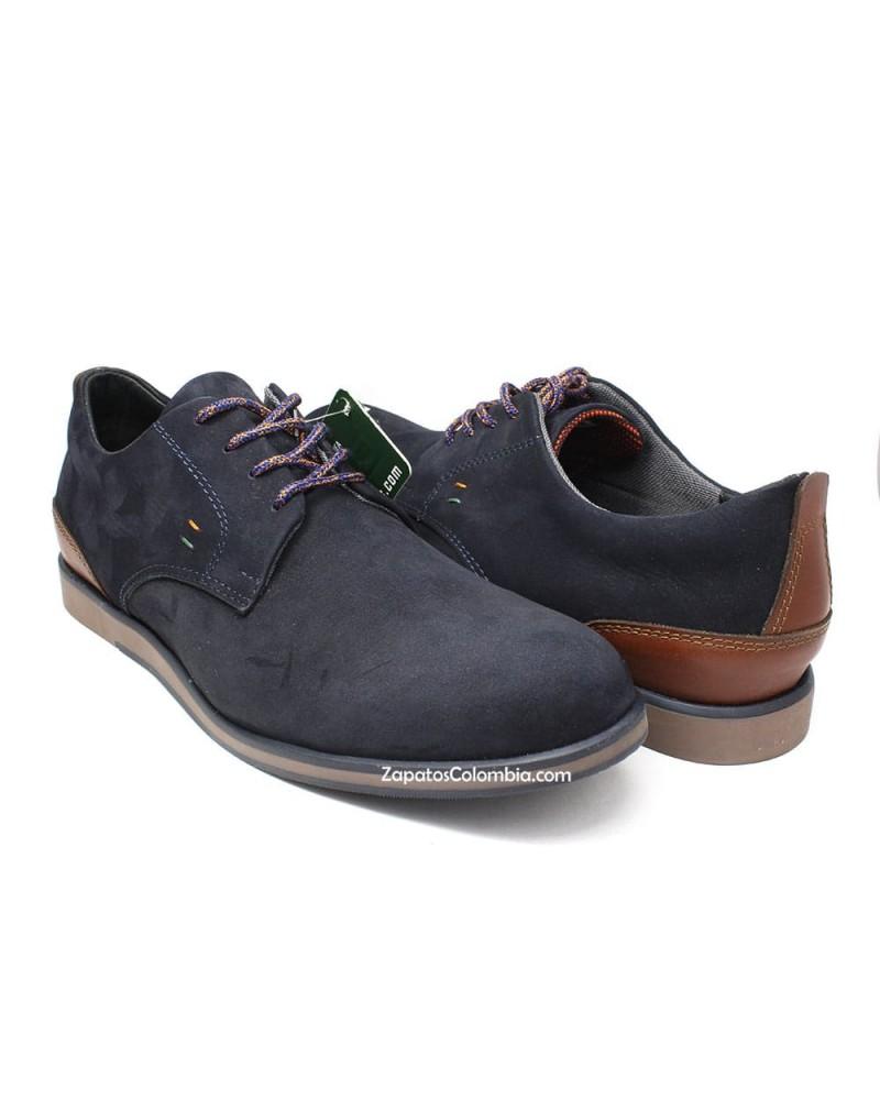 San Polos Zapato en cuero Nobuck, casual para hombre en ZapatosColombia.co, Azul 3106-4