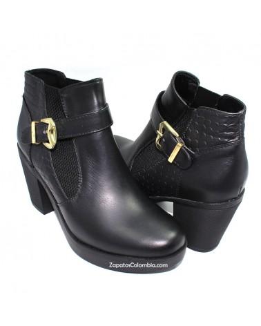 Botín Chelsea Cuero Dama, 0109 Negro, Suela con Plataforma, Liviana Zapatos Colombia