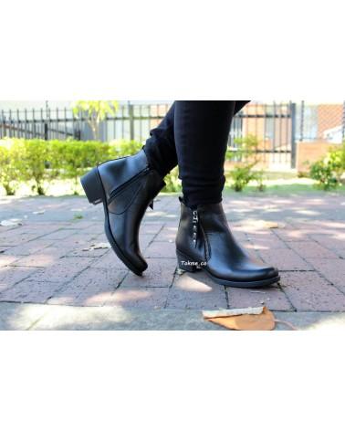 Botín Dama, Cremallera Cuero Negro, 2514 . Altura tacón 3 cm