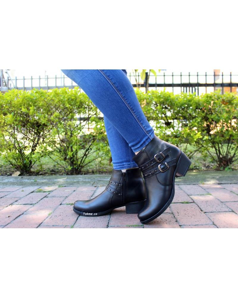 Botín Dama, Cremallera Cuero Negro, 2513 . Altura tacón 3 cm