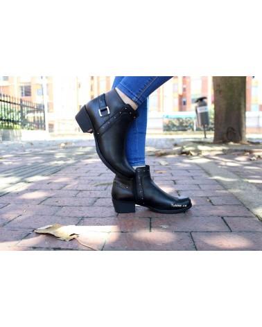 Botín Dama, Cremallera 100% Cuero Negro, 2511 . Altura tacón 3 cm.