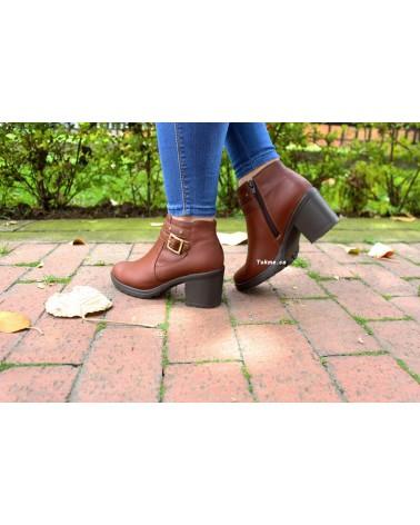 Botín Cuero Dama, 0102 Cognac, Tacón 5.5 cm Zapatos origen Colombia