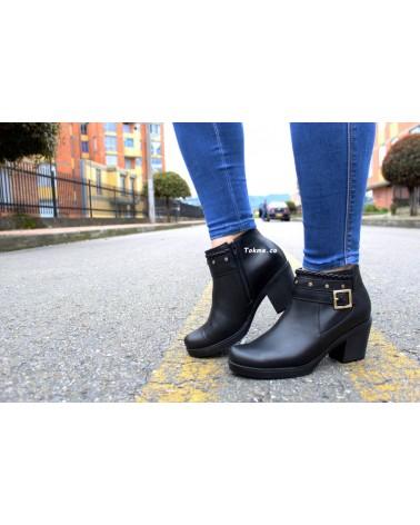 Botín Cuero Dama, 0102 Negro, Tacón 5.5 cm Plataforma 15 mm. Zapatos origen Colombia
